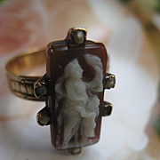Victorian 14K Cameo Ring , Greek Mythology , Cherub