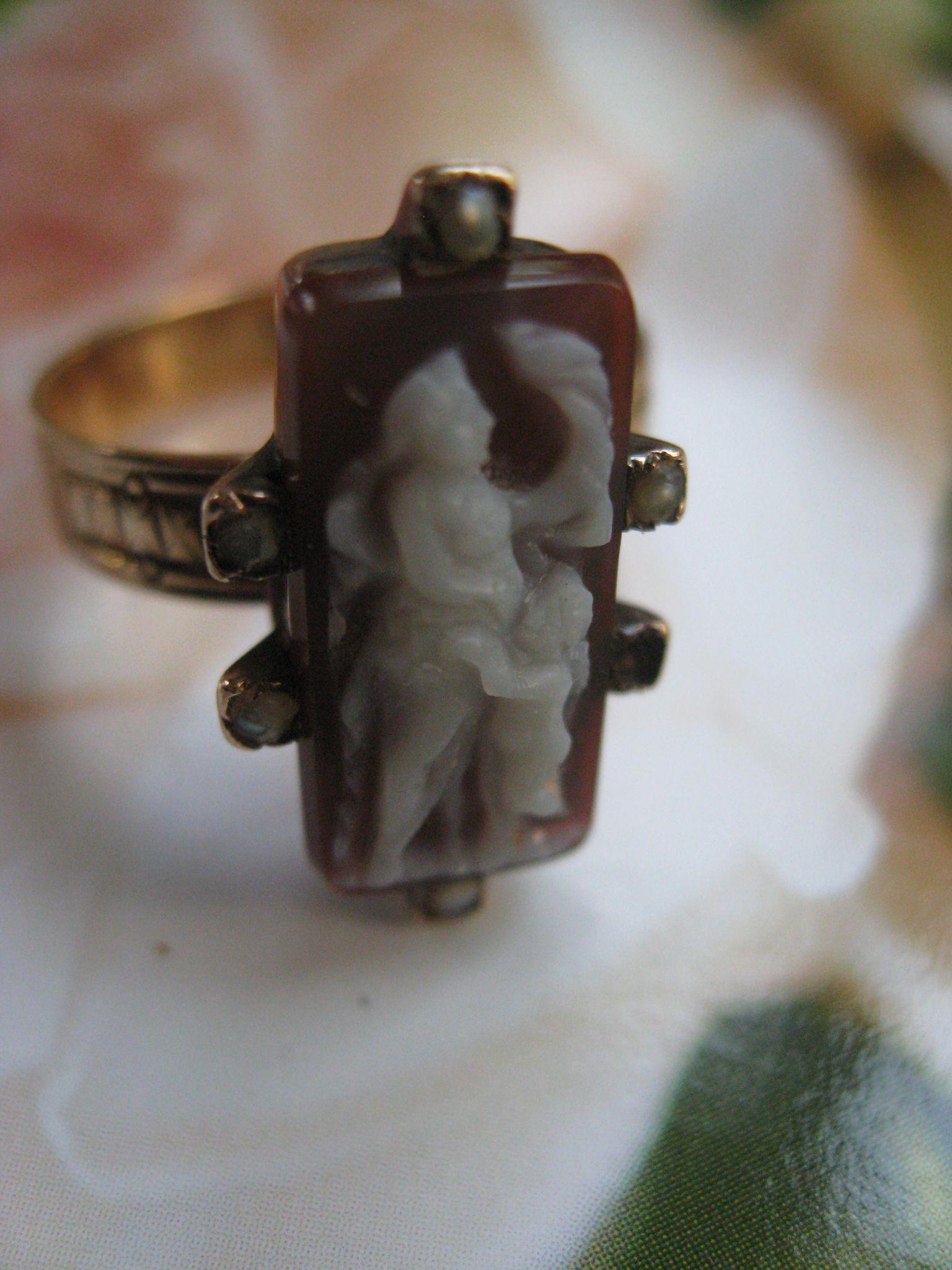 Victorian 14K Cameo Ring , Greek Mythology , Cherub