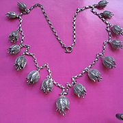 European 800 Silver Filigree Floral Necklace