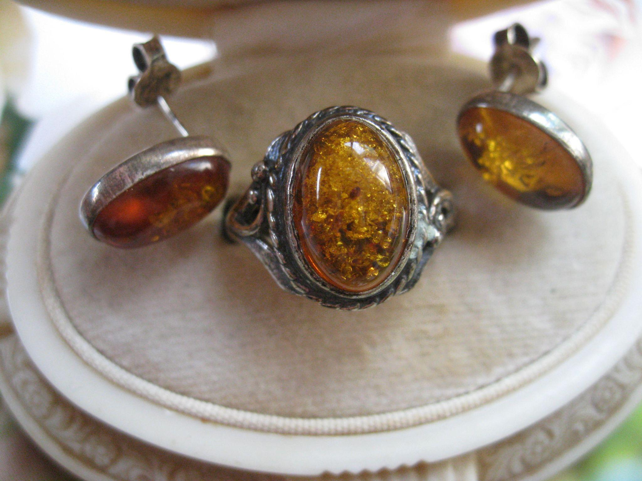 Amber Sterling Ring and Pierced Earring Set  European Hallmarks
