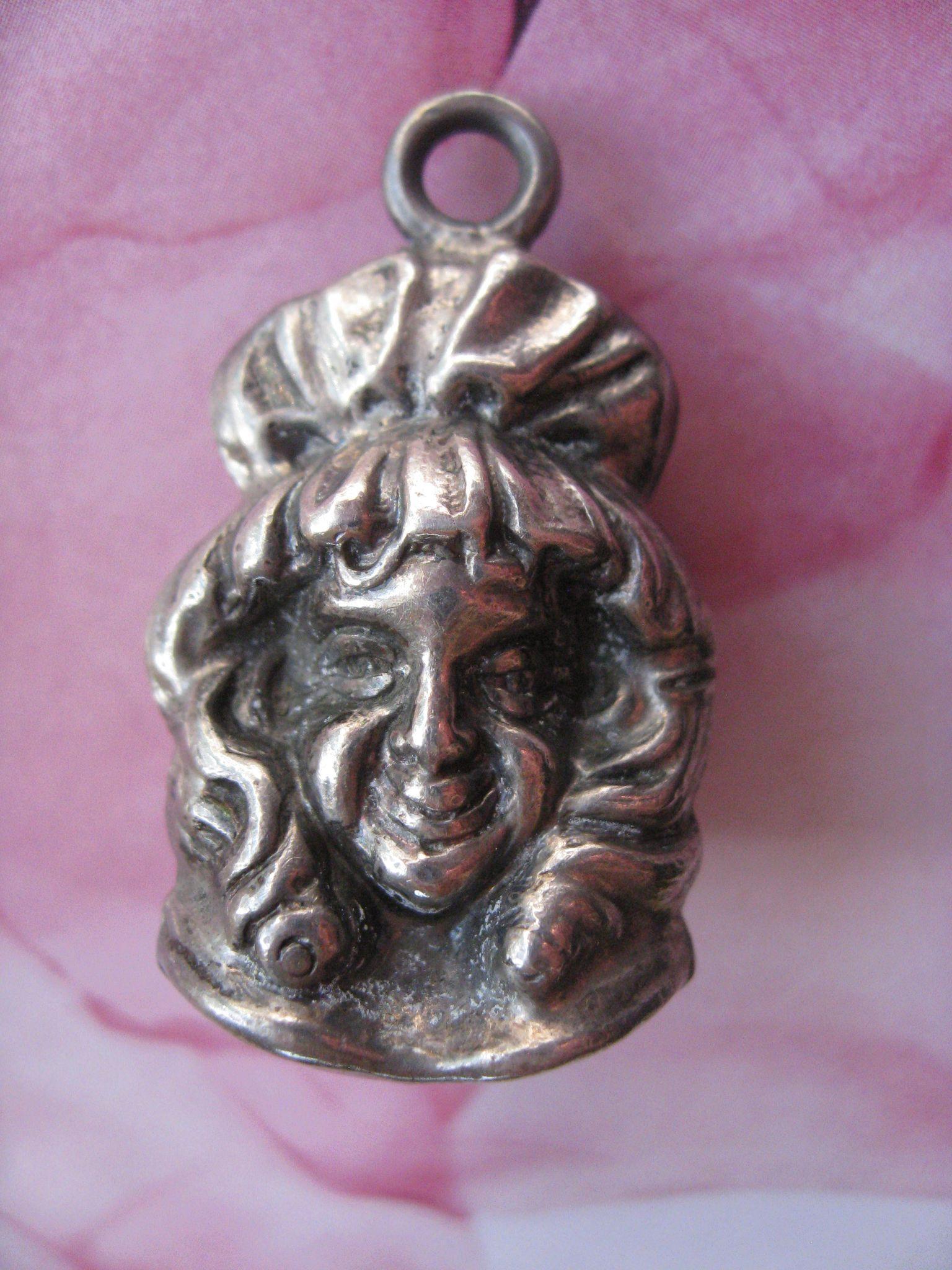 Art Nouveau Silver Female Bell Pendant, Chatelaine Piece
