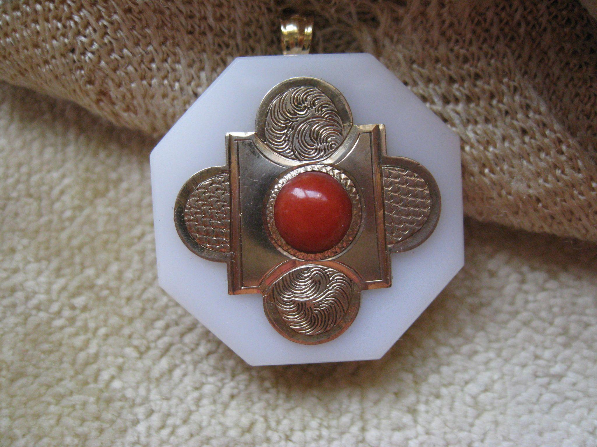 Victorian Gold Coral Pendant