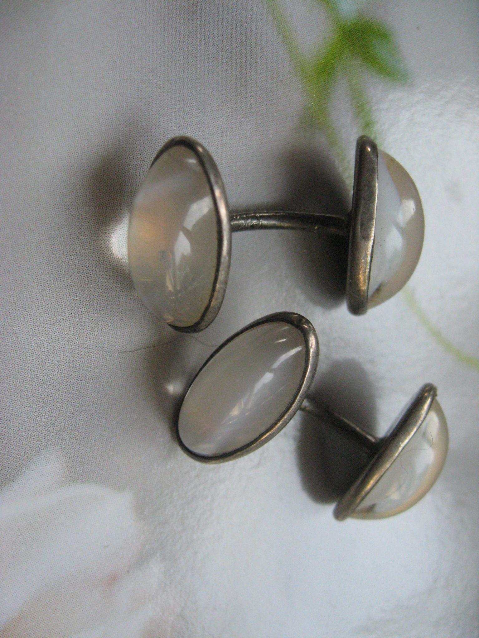 Antique Sterling Art Glass Moonstone Cufflinks