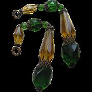 Antique Crystal Drops , Pair , Czech, Lamp Pulls