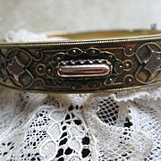 Victorian Etruscan Revival Bangle Bracelet in Gold Fill