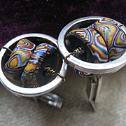 Vintage Sterling Modernist African Trade Bead Cufflinks Millifiore Beads