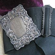 Antique Sterling Belt Black Gross Grain Ribbon