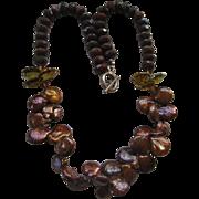 Chocolate Brown Keshi Fresh Water Pearl Necklace