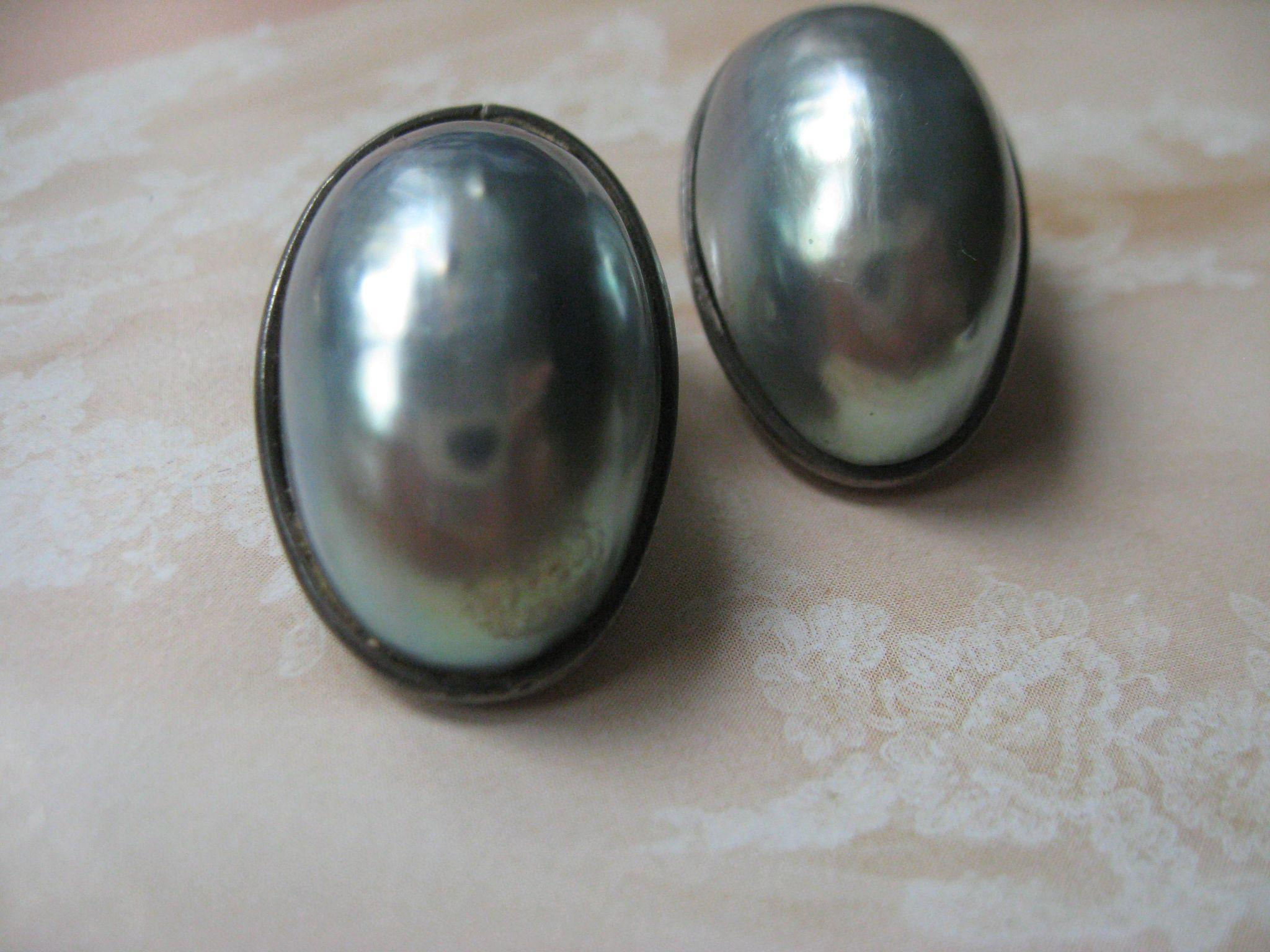 Vintage Silver Gray Nautilus Mabe Pearl Clip On Earrings Earrings   800 Silver European