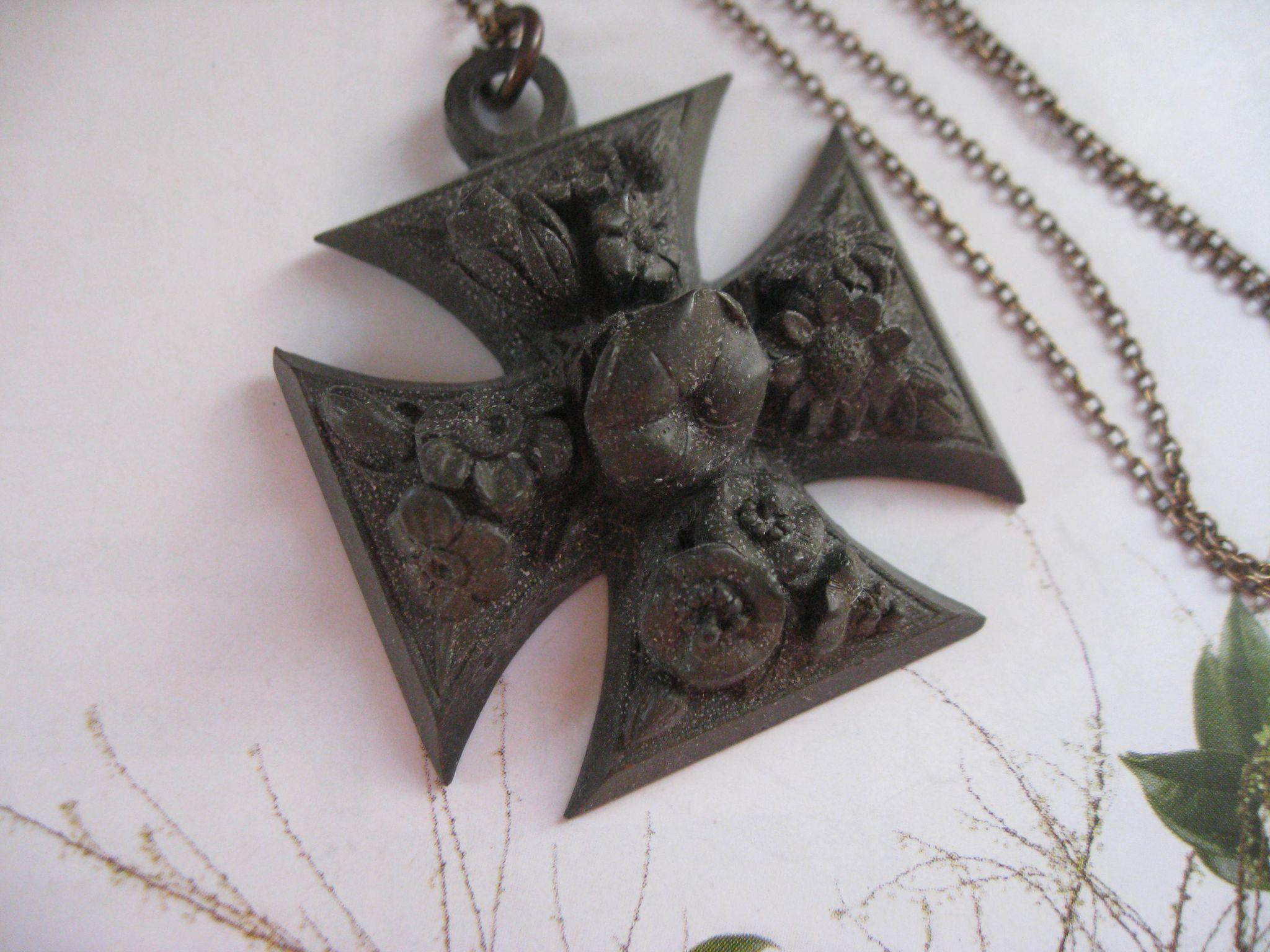 Victorian Vulcanite Floral Maltese Cross Necklace
