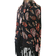Art Deco Floral Piano Shawl, Florals, Hippie Shawl, Boho Wrap, Burn Out Velvet, Burn Out Shawl, Scarf
