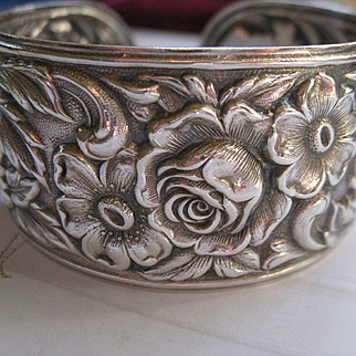 S. Kirk & Son  Sterling 19F Floral Repousse Cuff Bracelet