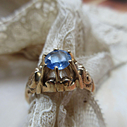 Victorian 10K Ceylon Sapphire Engagement Ring