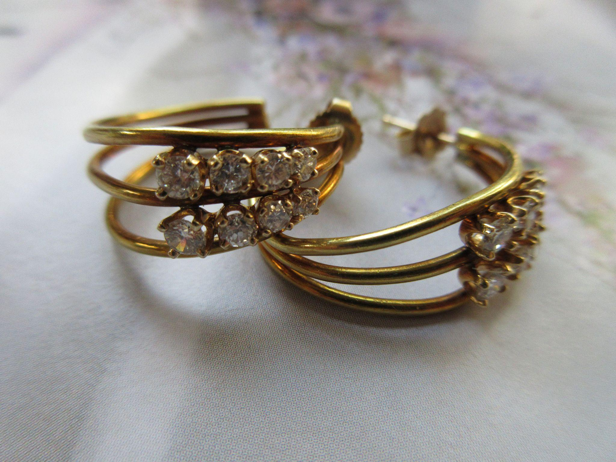 Diamond 18K Yellow Gold Pierced Earrings 1930s 1940s  ICT Diamond TW