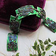 Elfi  MUller & Co Mid Century Modern Bracelet Enameled Austrian