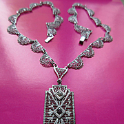 Deco Rhodium Plate Filigree Necklace  Plainville Stock Co