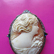 Deco Carved Shell Cameo Pin