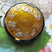 Vintage Celluloid Enameled Compact
