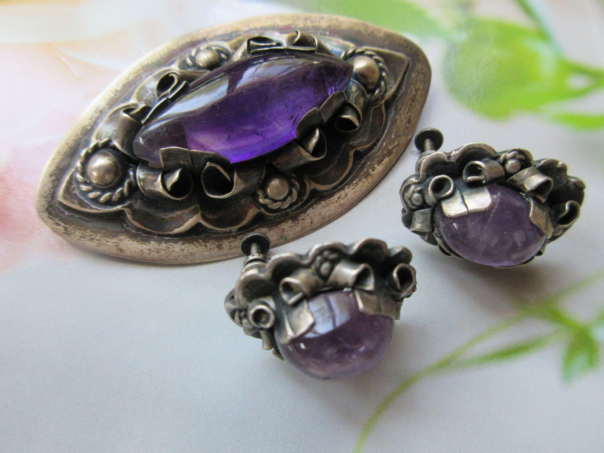 Anton Mexican Sterling Taxco Amethyst Pin & Screw Back Earrings