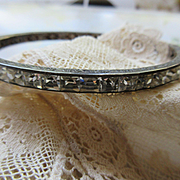 Deco Flapper Sterling Channel Set Crystal Bracelet