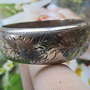 Older Vintage Sterling Bangle Bracelet   European Hallmarks