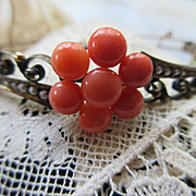 Natural Coral Seed Pearl 800 Silver Bangle bracelet Circa 1930