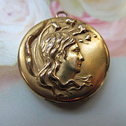 Art Nouveau Repousse Locket, Antique Locket