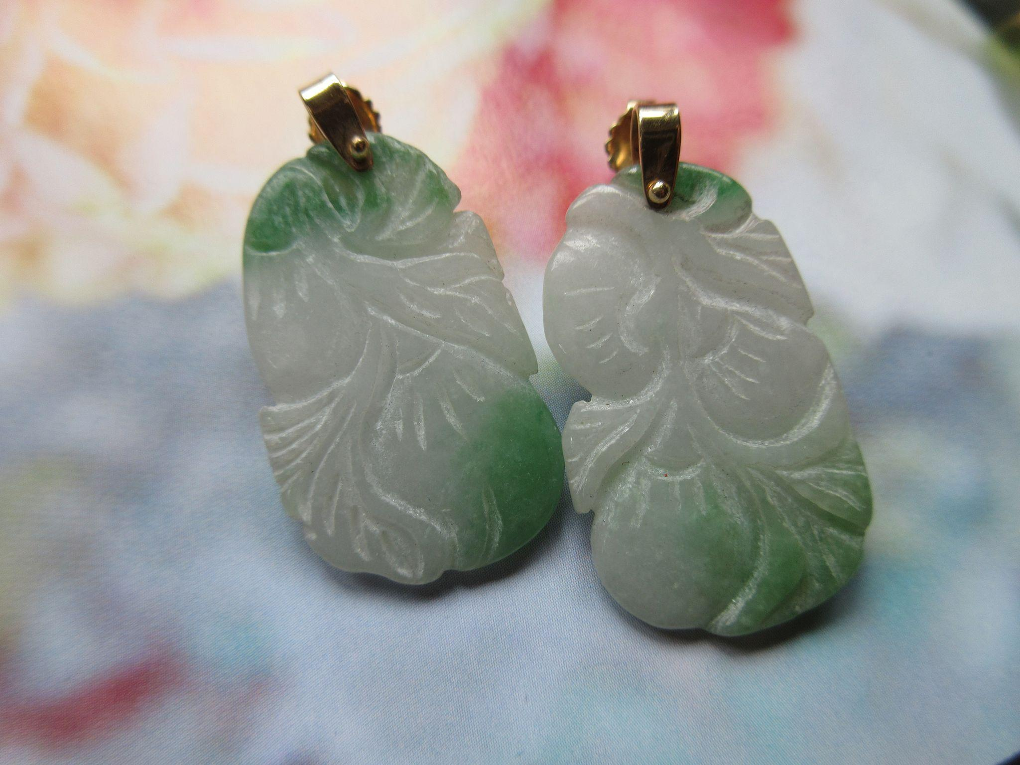 Vintage 14K Jade Earrings