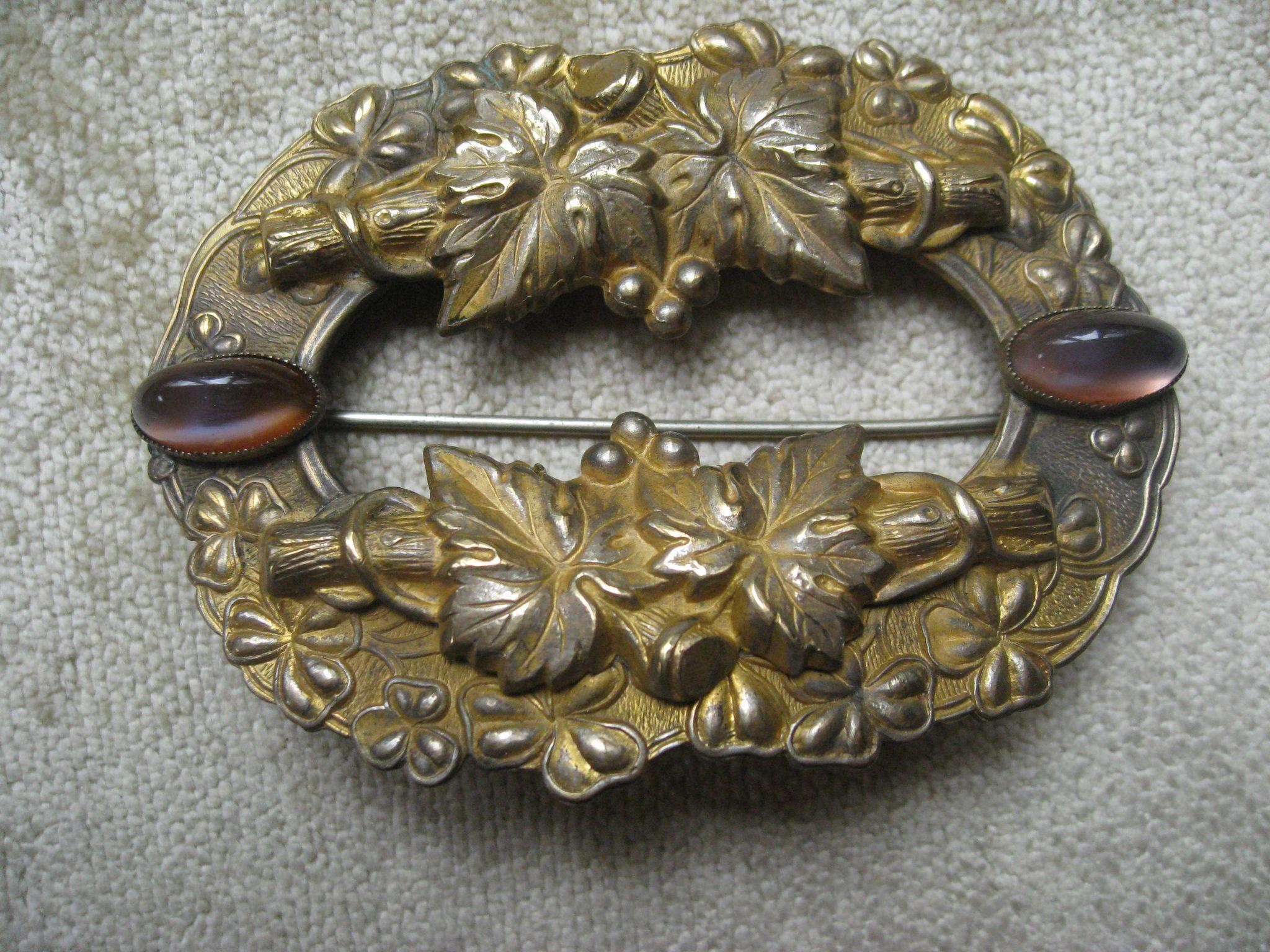 Antique Dragon's Breath Sash Pin, Victorian Brooch