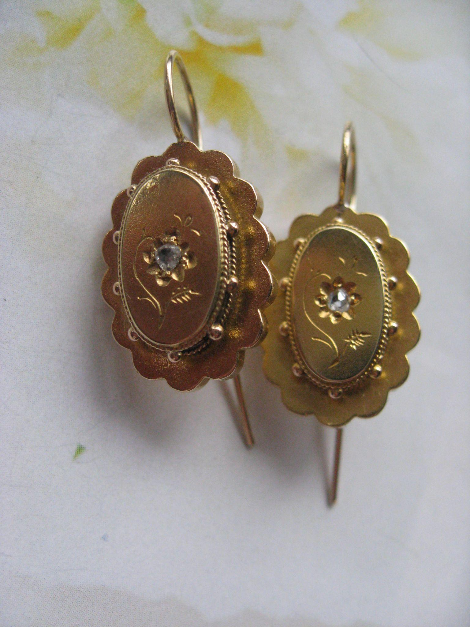 Victorian 10K Rose Cut Diamond Pierced Earrings, Victorian Earrings