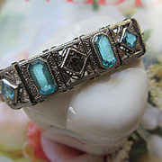 Deco Aqua Crystal Filigree Bracelet