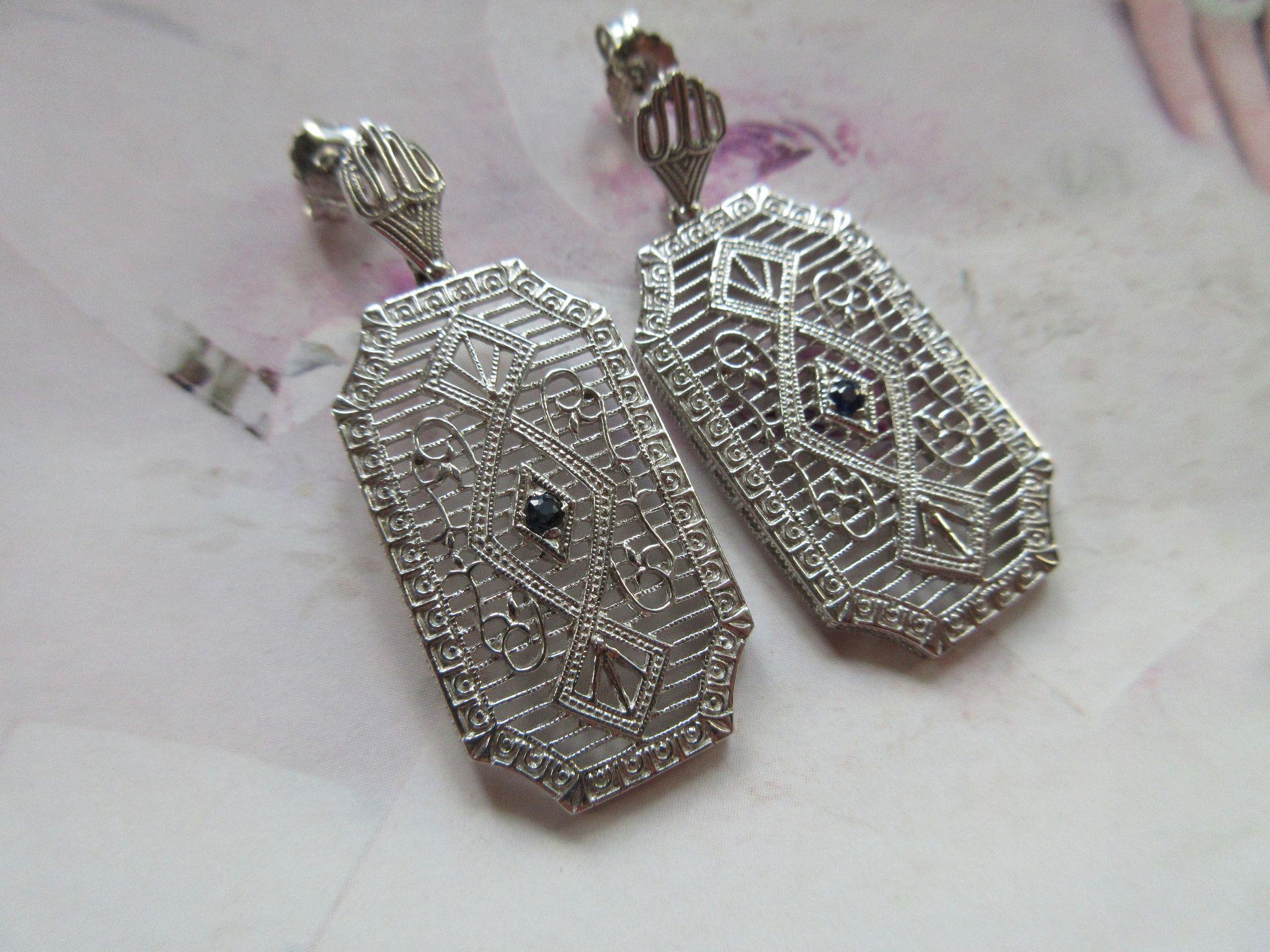 Vintage Sterling Filigree Pierced Earrings
