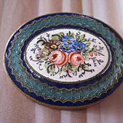 Vintage Deco Enameled Floral Box, 800 Silver