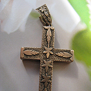 Victorian 10K Cross Pendant, Gold Cross, Antique Devotional