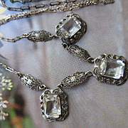 Deco Sterling Crystal Necklace, Bridal Necklace, Circa 1920
