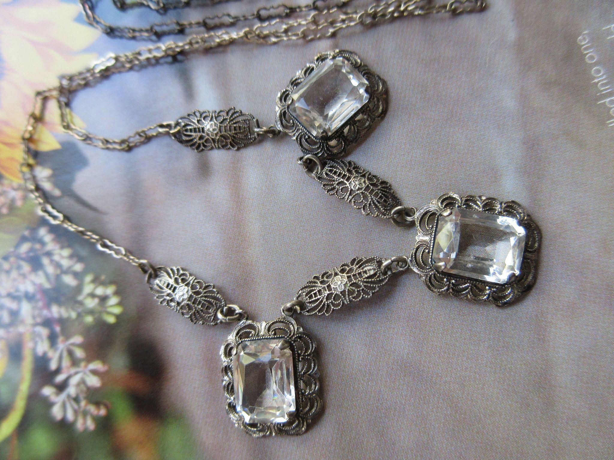 Deco Sterling Crystal Necklace, Bridal Necklace, Circa 1920