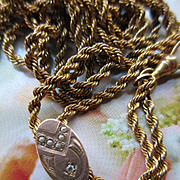 Victorian Ladies Watch Chain, Seed Pearl Diamond Slide