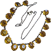 Deco Open Back Crystal Necklace  Fall Colors