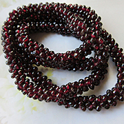 Vintage Woven Garnet Seed Bead Necklace, January Birthstone