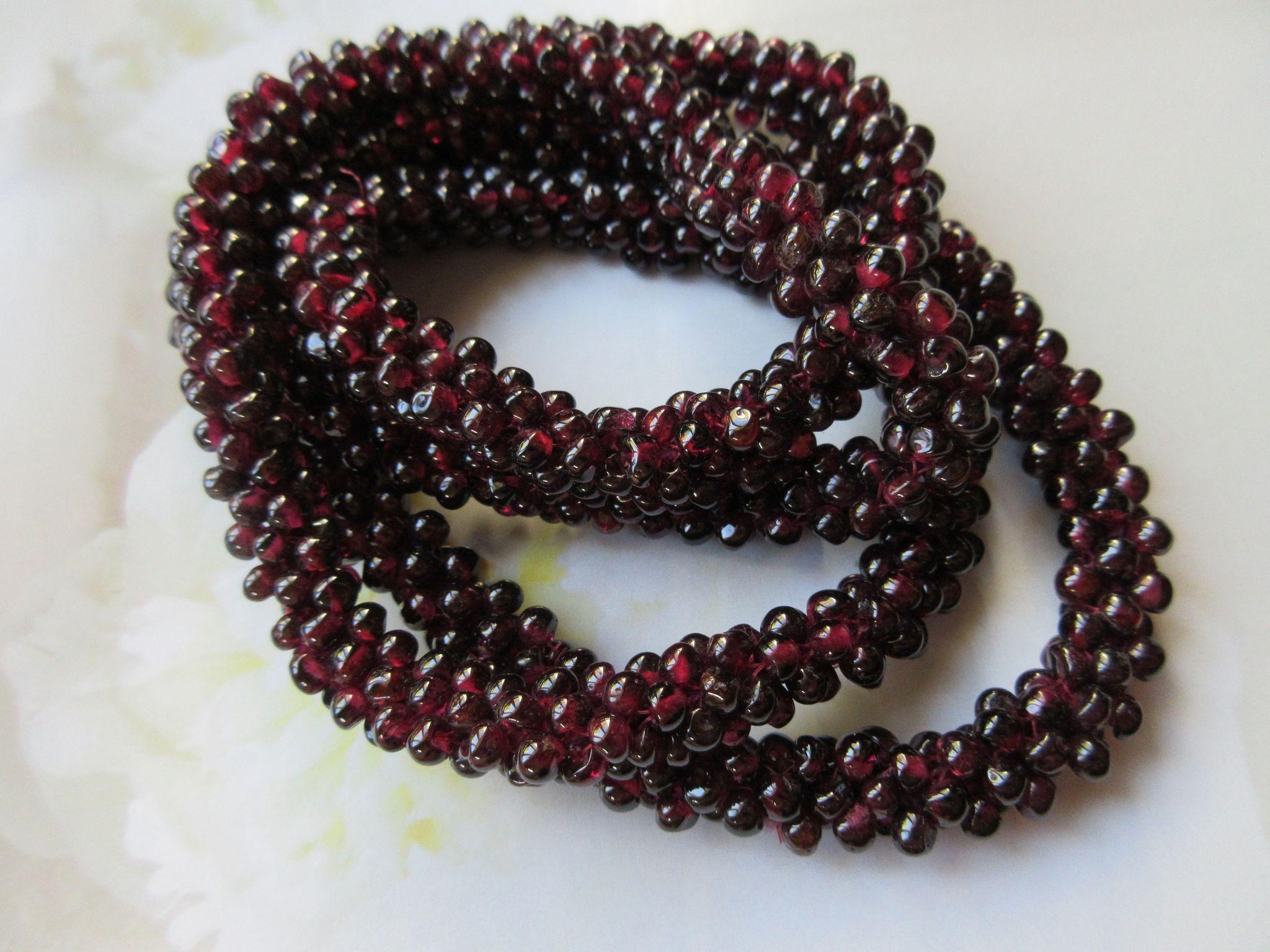 Vintage Woven Garnet Seed Bead Necklace, January Birthstone