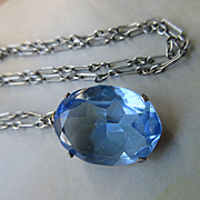 Deco Blue Crystal Drop Necklace, Paper Clip Chain