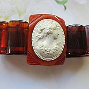 Vintage Bakelite Bracelet with Celluloid Cameo