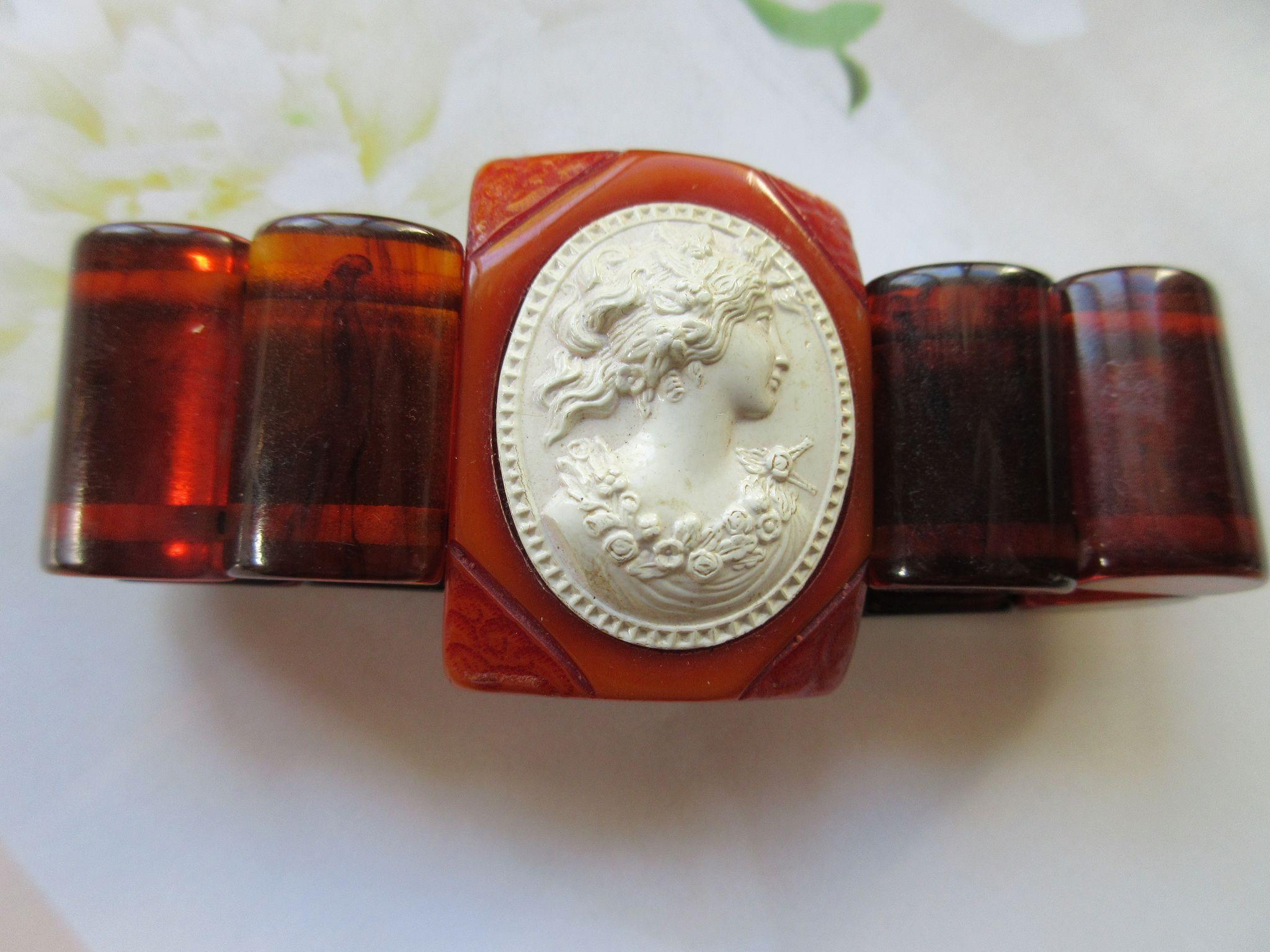 Vintage Bakelite Bracelet with Celluloid Cameo