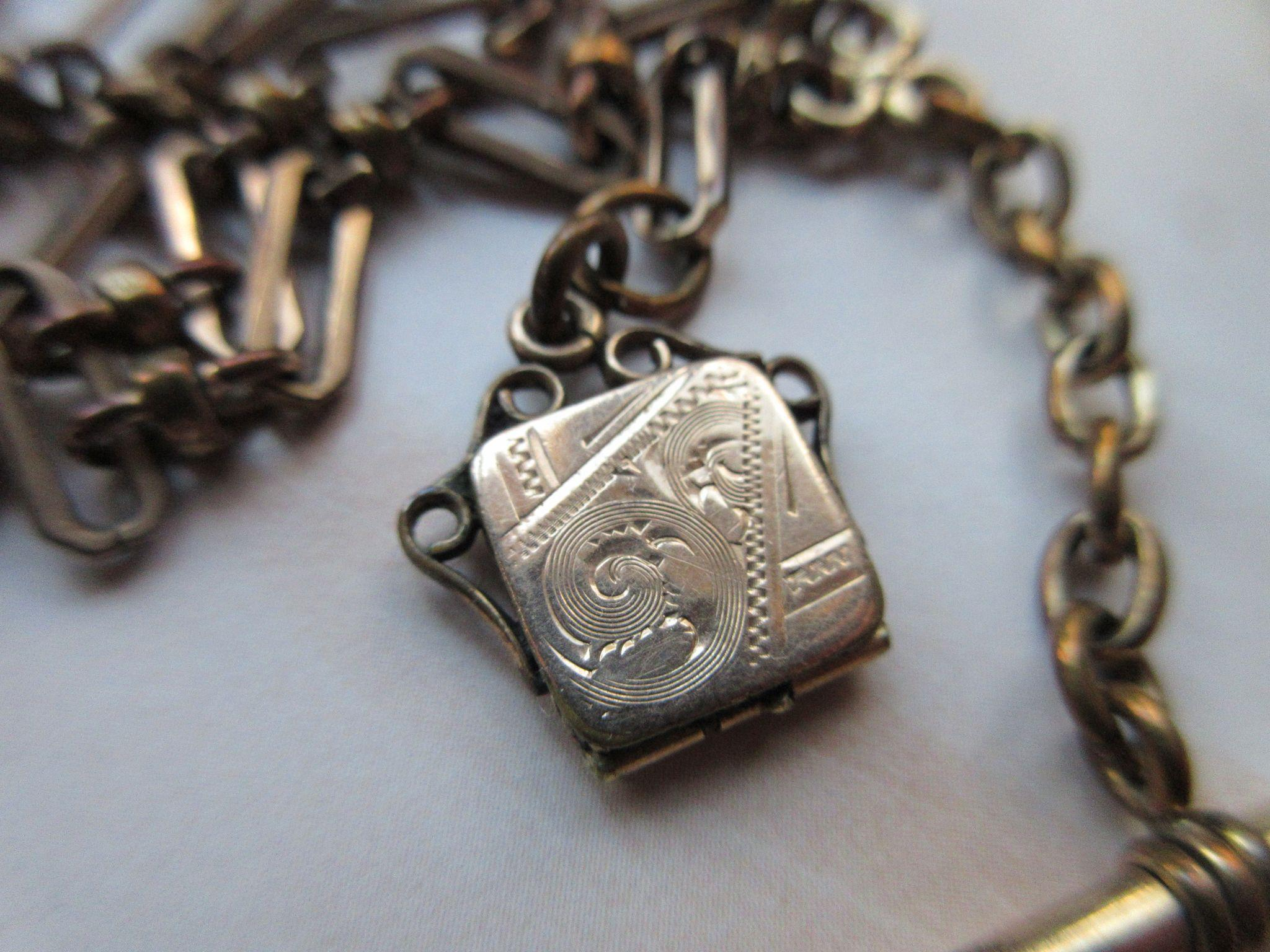 Victorian Watch Chain with Tiny Locket Fob, Locket Charm