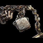 Victorian Watch Chain with Tiny Locket Fob, Locket Charm