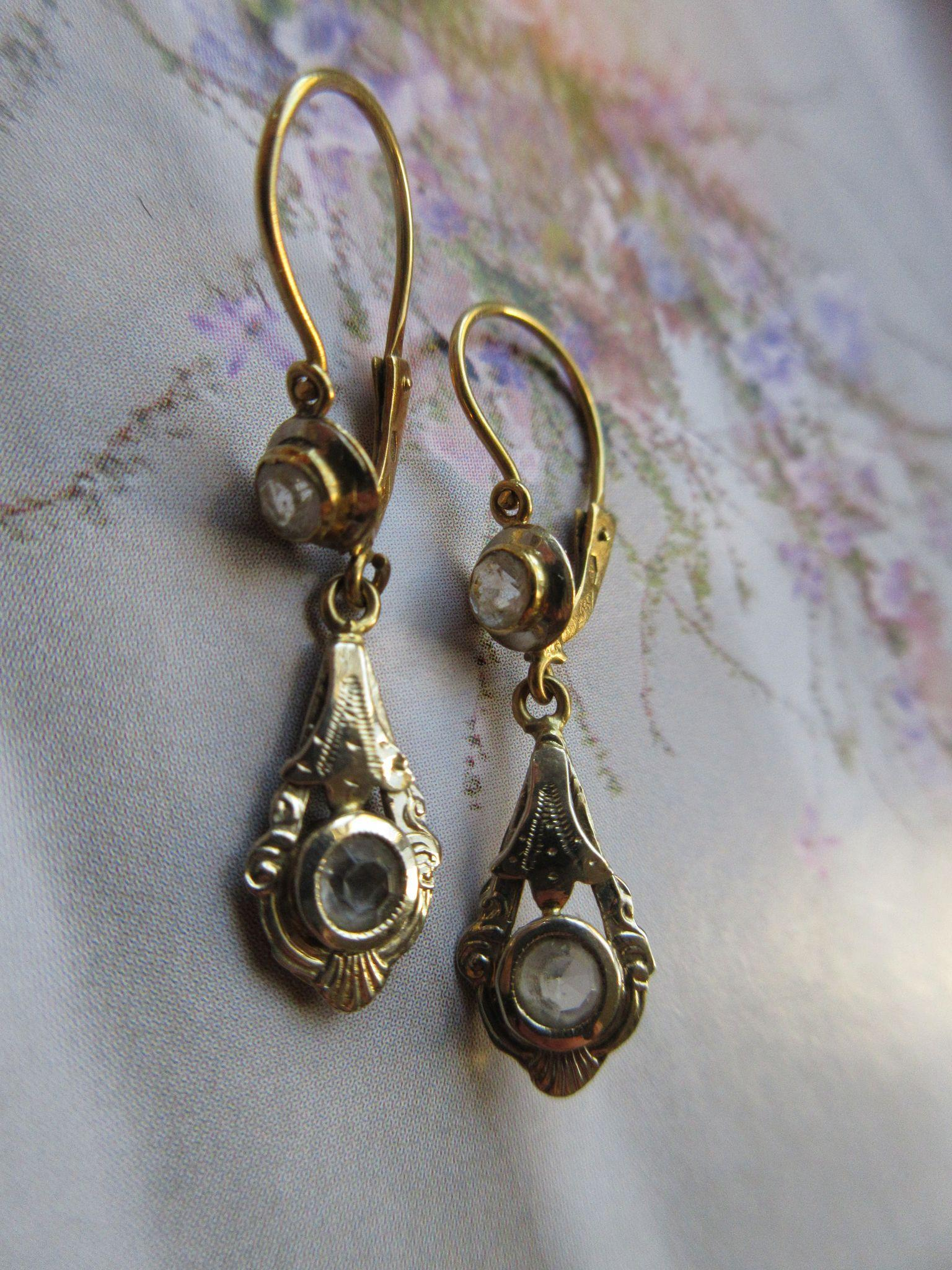 Victorian 18K Paste Pierced Earrings, European Antique Earrings