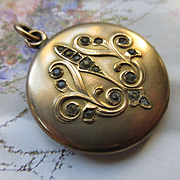 Art Nouveau Paste Locket , Antique Locket in Gold Fill