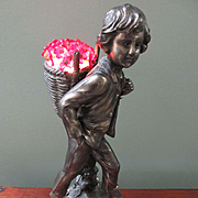 Czech Flower Basket Lamp, Peasant Boy Lamp, 1920s Lamp