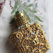 Czech Jeweled Vintage Filigree Perfume Bottle