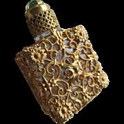 Czech Jeweled Vintage Filigree Perfume Bottle